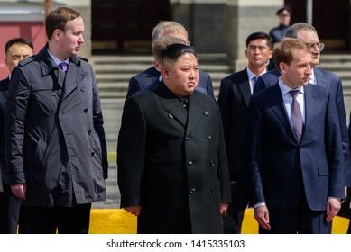 Vladivostok, Russia - April 26, 2019: North Korean leader Kim Jong-un with the Russian officials.
