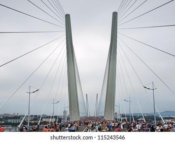 VLADIVOSTOK, RUSSIA - AUGUST 11: Opening cable bridge across the Zolotoy Rog (Golden Horn) August 11, 2012 in Vladivostok, Russia. Bridge Gold length of 1388 m.