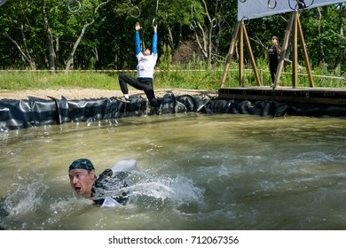 VLADIVOSTOK, RUSSIA - AUGUST 19, 2017: Race of Heroes. Russian army obstacle course race