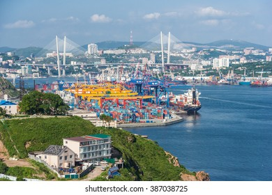 Vladivostok, Russia - circa August 2015: Commercial trade port in Vladivostok, Russia