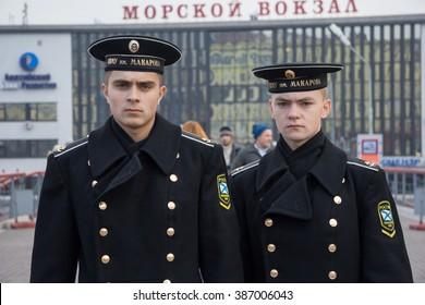 Vladivostok, Russia - circa October 2006: Russian Navy cadets, trainees in uniform in Vladivostok, Russia