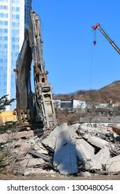 Vladivostok, Russia, January, 29,2019. Dismantling of buildings FESTU at the Eagle knoll in Vladivostok
