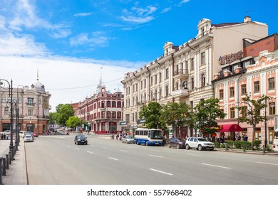VLADIVOSTOK, RUSSIA - JULY 17, 2016: Svetlanskaya is a central street in Vladivostok city, Primorsky Krai in Russia.