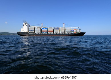 Vladivostok, Russia - July 29, 2017: Container Ship Mcc Seoul in the water area of the Sea of Japan.