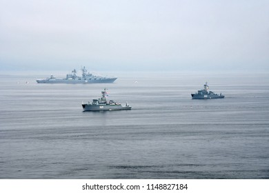 Vladivostok, Russia, July, 29,2018.  Russian Navy day, the parade of ships. Rig BT-232 base minesweeper orf project 1265. Flight number 525.TIH BT-245 basic minesweeper project 12650. Board number 553