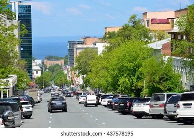 Vladivostok, Russia, June, 01, 2016. Cars parked on both sides of Fontannaya street in Vladivostok
