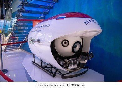 "Vladivostok, Russia - June 23 2018:  model of the bathyscaphe ""Mir-1""in Oceanarium"