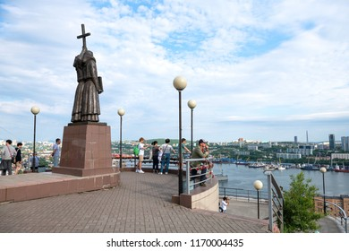 Vladivostok, Russia - June 24 2018: Panorama cityscape. ​​Viewpoint on the Golden Bridge and the Golden Horn Bay