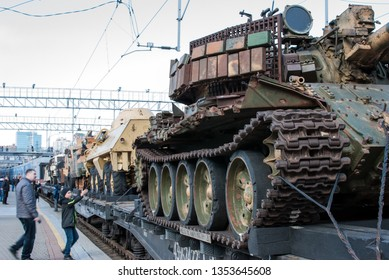 VLADIVOSTOK, RUSSIA - MARCH 28, 2019: Papped military equipment captured from isis terrorists in Syria on railway platforms