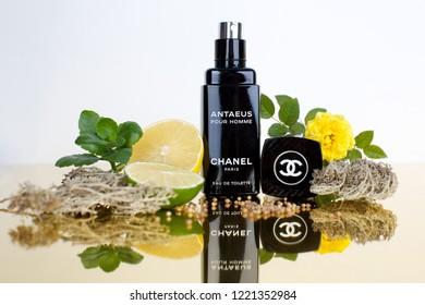 Vladivostok / Russia - November 05, 2018: Chanel Antaeus fragrance notes and bottle for catalog