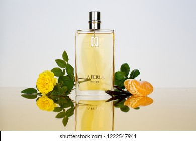 Vladivostok / Russia - November 11, 2018: La Perla Creation for women. Fragrance componets photoshoot