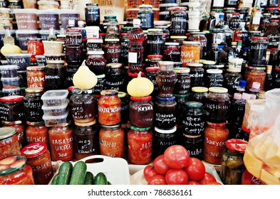 Vladivostok, RUSSIA - November 20, 2017 : Market on Ulitsa Russkaya - They sell honey and salted product