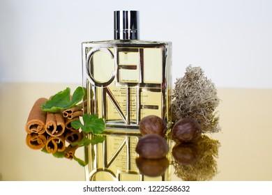 Vladivostok / Russia - November 6, 2018: Celine perfume with fragrance components shown