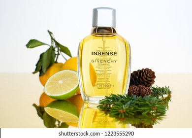 Vladivostok / Russia - November 7, 2018: Givenchy Insense perfume with shown fragrance ingredients (notes)