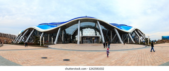 VLADIVOSTOK, RUSSIA - OCTOBER 20, 2018: The main building in the Primorsky Aquarium or Oceanarium of the Far Eastern Academy of Sciences in the Russian city of Vladivostok.