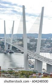 VLADIVOSTOK, RUSSIA - OCTOBER 8: Flashmob Vladivostok on the Golden Bridge. on october 8, 2016 in Vladivostok, Russia