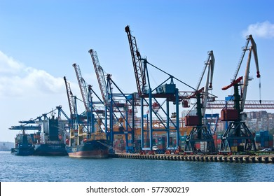 Vladivostok. Russia - September 02, 2015: The ships are at berth container terminal.