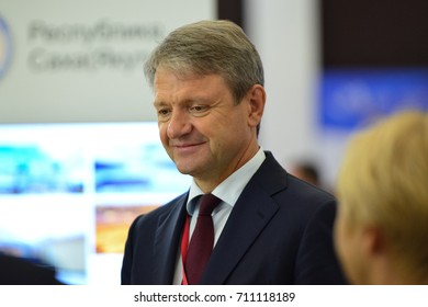 Vladivostok, Russia - September 06, 2017: Alexander Tkachev,  Minister of Agriculture of Russia participates in work of Eastern Economic Forum (EEF-2017)
