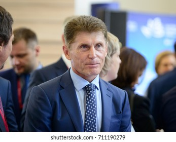 Vladivostok, Russia - September 06, 2017: Oleg Kozhemyako, Sakhalin region governor,  participates in work of Eastern Economic Forum (EEF-2017)