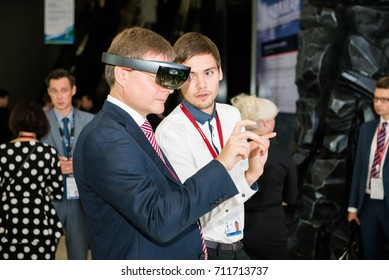 VLADIVOSTOK, RUSSIA - SEPTEMBER 6, 2017: East Economic Forum 2017 - EEF2017. Investors from major Russian and foreign companies attended this forum. Sergei Ivanov - Alrosa president