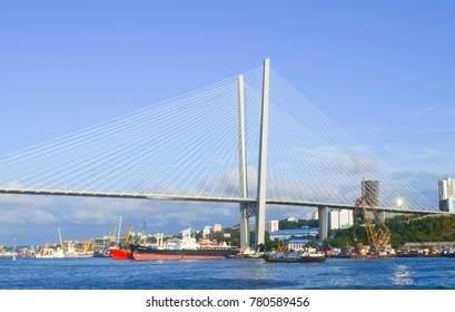 Vladivostok, view of Golden bridge