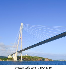 Vladivostok, view of the Russkiy bridge