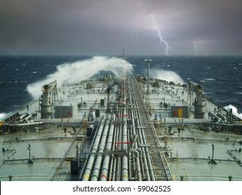 vlcc or oil tanker ship on open rough sea
