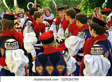 VLCNOV, CZECH REPUBLIC - MAY 27, 2007: Young men dressed in traditional costume during the Ride of the Kings folklore festival in Vlcnov. Celebration is on UNESCO list of Intangible Cultural Heritage