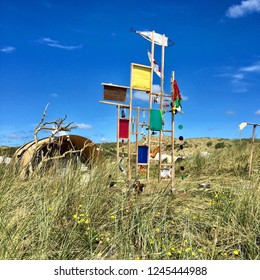 """Vlieland. August-13-2017. Lost and found objects from the camp ground """"Stortemelk"""" on the island Vlieland. The Netherlands"""
