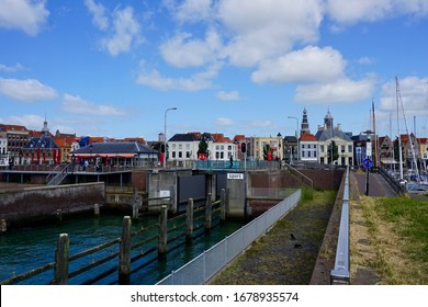 Vlissingen, The Netherland - June 22 2018; The lock for the Michiel de Ruyter marina for pleasure boating is usually open