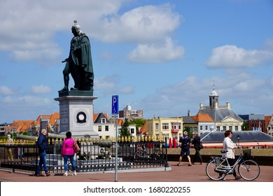 Vlissingen, The Netherland - June 22 2018; The statue of Michiel de Ruyter is located on Boulevard de Ruyter in his birthplace Vlissingen. It was made by the Flemish sculptor Louis Royer
