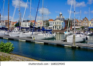 Vlissingen, The Netherland - June 22 2018; The pleasure yachts on the floating jetties in the Michiel de Ruyterhaven.