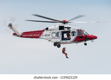 VLISSINGEN, ZEELAND, NETHERLANDS - August 15: An AgustaWestland AW189 rescue helicopter from Her Majesty's Coastguard on August 15, 2018 at Vlissingen, Zeeland, Netherlands.