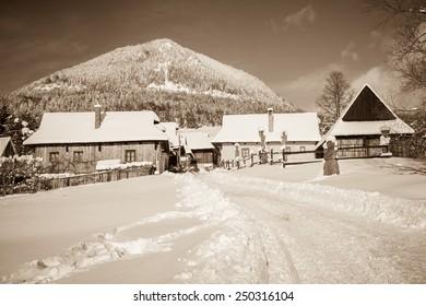 VLKOLINEC, SLOVAKIA - JANUARY 31:  Picturesque historical village  Vlkolinec on January 31, 2015 in Vlkolinec