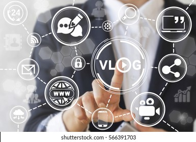 VLOG social media network communication technology web concept. Girl presses vlog play word icon on touch virtual screen on background internet vlogging sign. Streaming broadcast account translation