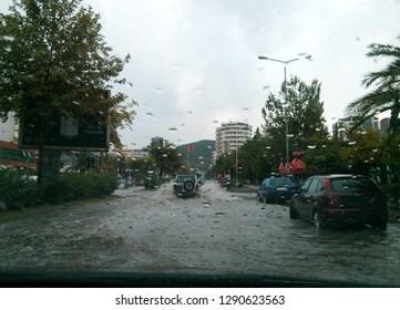 Vlora, Albania - August 10 2013: A flooded street after heavy rainfall