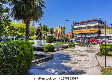 VLORE, ALBANIA - JUNE 7, 2018: Street view in Vlore - third most populous city of Republic of Albania, capital of surrounding Vlore County. Vlore located on southeastern Adriatic Sea.