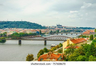 The Vltava River and bridges in Prague, Czech Republic