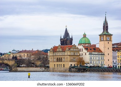 Vltava river and Charles bridge in Prague's Old Town Czech Republic