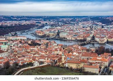 Vltava river and Charles bridge in Prague's Old Town Czech Republic