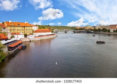 Vltava River panorama with bridges in Prague, the Czech Republic.