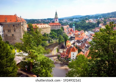 The Vltava River Runnig through Beautiful Cesky Krumlov in the Czech Republic, with the Castle Overlooking the River and the City