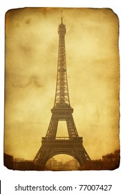Vntage postcard (imitation) with Eiffel tower