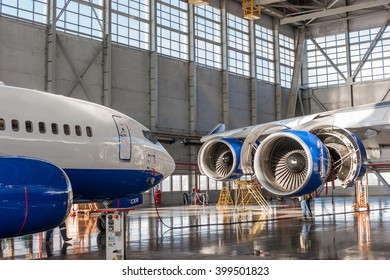 VNUKOVO AIRPORT - 18 February 2015 : Boeing 737 and Boeing 747 being checked in hangar
