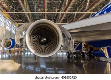 VNUKOVO AIRPORT - 18 February 2015 : Boeing 747 being checked in hangar