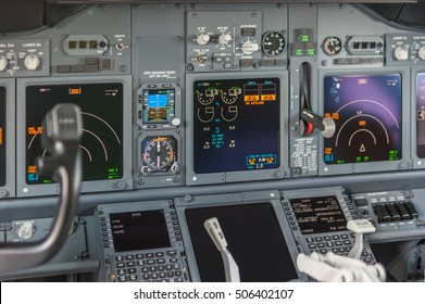 VNUKOVO- May 22, 2015. Cockpit view inside the airliner Boeing 737-800
