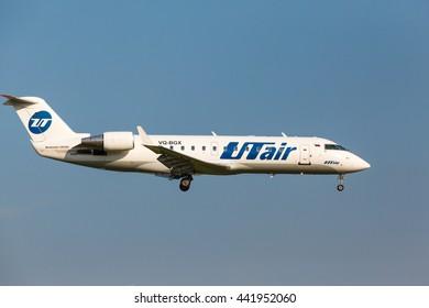 VNUKOVO, MOSCOW REGION, RUSSIA - 17 June , 2016: Airplanes at Vnukovo international airport. Utair Airlines bombardier crj200 landing to runway