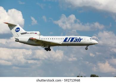 VNUKOVO, MOSCOW REGION, RUSSIA - 17 June , 2016: Airplanes at Vnukovo international airport. Utair Airlines Yak-42 landing on the runway