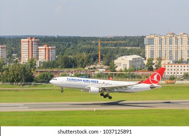 VNUKOVO, MOSCOW REGION, RUSSIA - 18 August , 2017: Airplanes at Vnukovo international airport. Turkish Airlines Airbus A330 runway landing