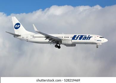 VNUKOVO, MOSCOW REGION, RUSSIA - APRIL 3, 2012: Boeing 737-8GU(WL) VQ-BQS of Utair airlines landing at Vnukovo international airport.